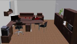 3D návrh kancelar pro 1