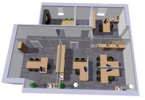 3D návrh kanceláří RADA NÁBYTEK